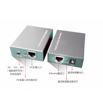 POE сплиттер PD-102 5V/12V/24V 2A, RJ45 (10/100/1000Мбит)+POE, 25W
