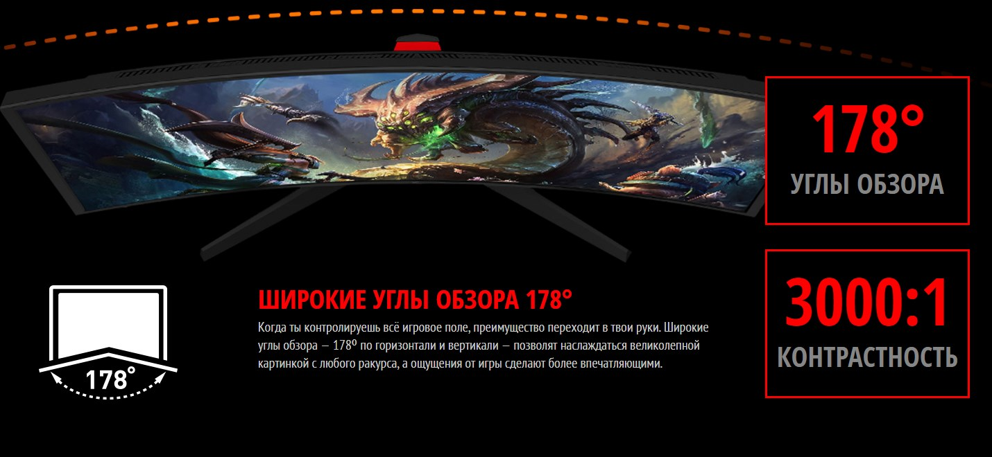 MSI Optix G24C ШИРОКИЕ УГЛЫ ОБЗОРА 178°