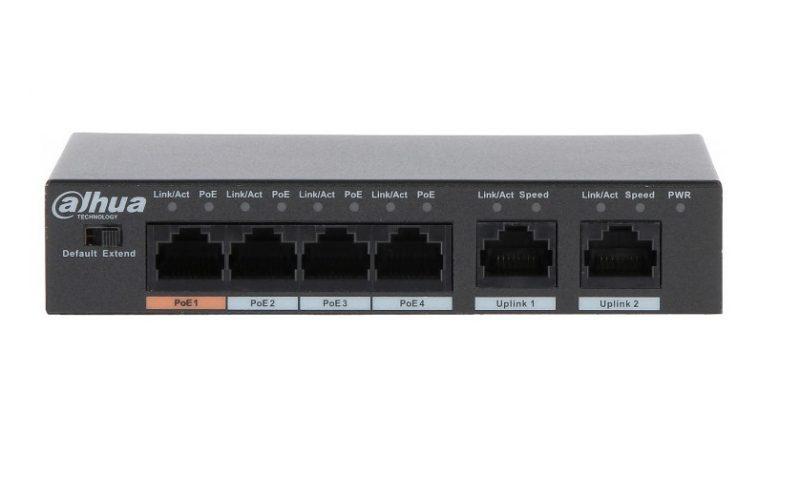 Коммутатор POE Dahua DH-PFS3006-4ET-60 с 4 портами POE + 2 UP-Link
